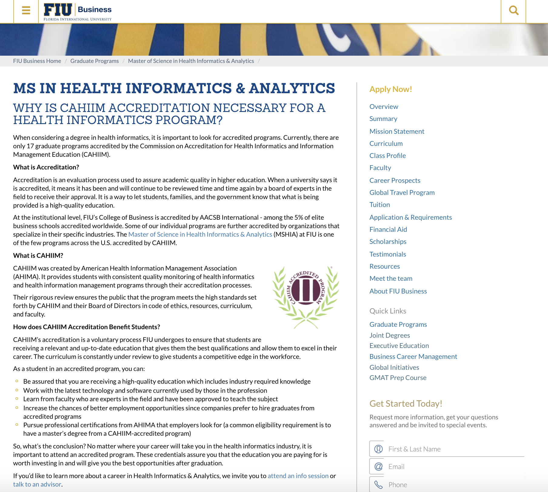 FIU MS in Health Informatics & Analytics SEO Content