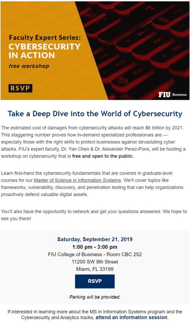 FIU MSIS Cybersecurity Workshop