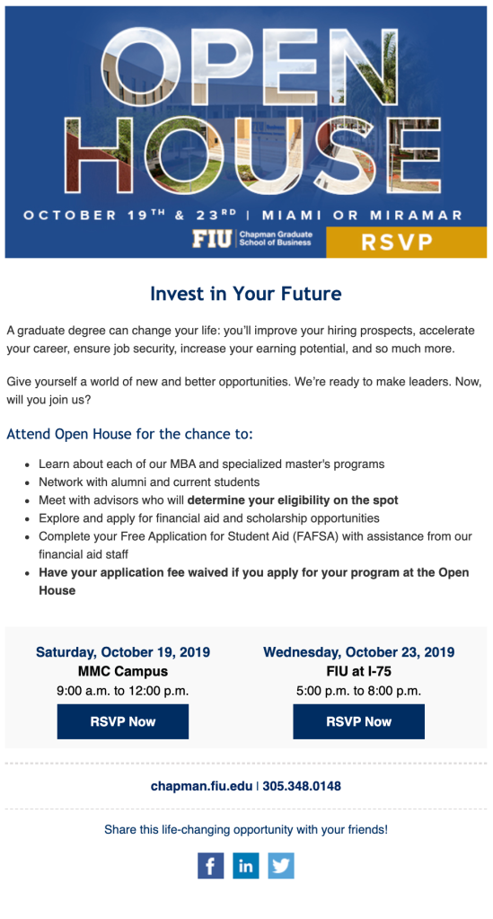 FIU Invitation to Open House